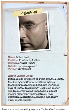 Bio for Secret Agent #24 @mitchjoel  to see his content marketing secret visit tprk.us/cmsecrets