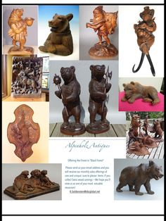 Send your email today! Lodge Style, Bear Art, Black Forest, Wood Furniture, Whimsical, Lion Sculpture, Wood Carvings, Statue, Antiques