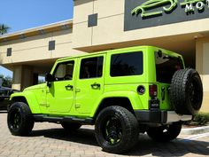 2012 Jeep Wrangler Unlimited Sahara for sale in Naples, FL Green Jeep Wrangler, Jeep Wrangler Lifted, Jeep Rubicon, Jeep Jk, Jeep Wranglers, Fancy Cars, Cute Cars, Lime Green Jeep, My Dream Car