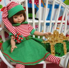 "Wonderful World of Dolls - Fits 14"" Tonner Betsy McCall Doll ..Christmas Elf Dress ... D707, $16.50 (http://www.wonderfulworldofdolls.biz/fits-14-tonner-betsy-mccall-doll-christmas-elf-dress-d707/)"