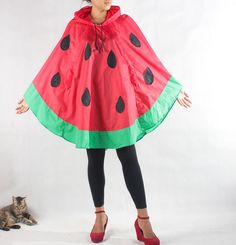 And finally, this incredible rain poncho that goes with literally everything: | 18 Watermelon Products You Never Knew You Needed Until Today