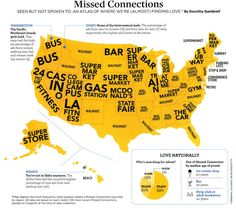 Top Places Americans (Almost) Find Love:  Fascinating Infographic of Craigslist 'Missed Connections'