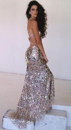 One Shoulder Long Sleeves Champagne | Glitter prom dresses
