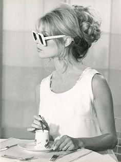Brigitte Bardot with a coffee.