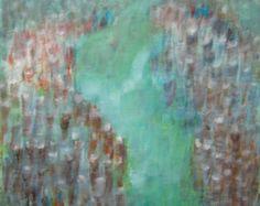 Las rocas abstracto lienzo acrílico arte pintura naranja Aqua pintura paisaje abstracto de turquesa pintura pintura abstracta pintura arte de la pared