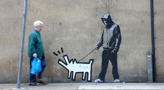 Haring Dog by BANKSY Banksy Graffiti, Street Art Banksy, Arte Banksy, Graffiti Words, Banksy Canvas, Graffiti Artwork, Bansky, Banksy Prints, Graffiti Painting