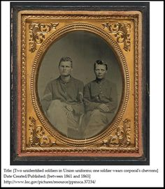 "A Civil War photo of two soldiers in Union uniforms. Credit: Library of Congress. Read more on the GenealogyBank blog: ""Civil War Genealogy: How to Find Union Soldier Uniform Clues."" http://blog.genealogybank.com/civil-war-genealogy-how-to-find-union-soldier-uniform-clues.html"