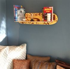 Ideas For Upcycled Furniture Design Skateboard Bookshelf