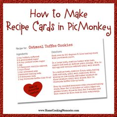 Recipe Keeping - Home Cooking Memories How to make recipe cards in PicMonkey homecookingmemori. Old Recipes, Wrap Recipes, Vintage Recipes, Jelly Recipes, Budget Recipes, Family Recipe Book, Family Recipes, Toffee Cookie Recipe, Printable Recipe Cards