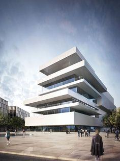 a f a s i a: Ortiga & Moura kantoor volumeschakeling luifels terrassen toren stapeling horizontaal POLK
