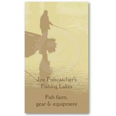 Fishing business card. A man fishing at a lake, toned cream and brown. Also available in blue