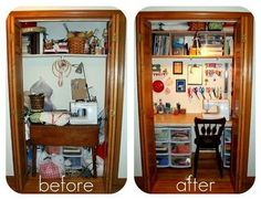Sewing Room Closet Organization Ideas For 2019 Sewing Closet, Sewing Nook, Closet Redo, Sewing Room Storage, Closet Office, Sewing Spaces, Room Closet, Closet Space, Closet Ideas