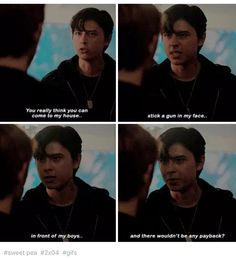 I loved this scene soo much when archie punches him I was like oh shiz dude you disrespected the heck outta him you gon get it boy but then I was also like ooh shiz whatta punch oh shoot his falling SWEETPEA DOWN Sweet Pea Riverdale, Kj Apa Riverdale, Riverdale Quotes, Riverdale Cast, Archie Comics Riverdale, I Dont Fit In, Riverdale Cole Sprouse, Betty And Jughead, Lauren Cohan