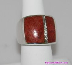 Silpada Artisan Jewelry Red Sponge Coral Inlay Wide Band Statement Ring Size 7 Retired Rare