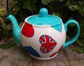 Union Jack Heart Teapot Hand Painted English Bone China 6 Cup Betty Tea Pot