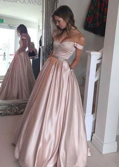 Off-shoulder prom dress, ball gown, elegant blush satin prom dress