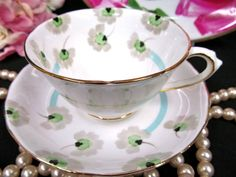 TUSCAN TEA CUP AND SAUCER PAINTED DECO FLOWERED TEACUP PATTERN
