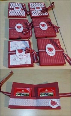 basteln karten teebeutel weihnachten idee rot – Rebel Without Applause Red Crafts, Diy Crafts To Do, Paper Crafts, Christmas Card Crafts, Christmas Bags, Stamping Up, Small Gifts, Craft Fairs, Diy Gifts