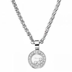 Pendentif Happy Diamonds  Le sublime pendentif Happy Diamonds, en or blanc 18 carats et diamants, est une ravissante création signée par la maison joaillè... Pocket Watch, 1, Pendant Necklace, Watches, Bracelets, Accessories, Jewelry, White Gold, Clock Art