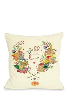 """Fall in Love Cream Pillow with Zipper - 18"""" x 18"""" by Bohemian Bedding, Pillows and Art on @HauteLook"""