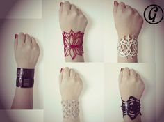 Bracelets collection in three classy colors. Material: laser cut 100% natural rubber