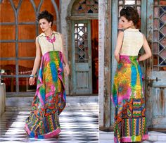 Pink and Green Jute Silk and Pure Printed cotton Long Kurti with 40 size.(Catalog - 5417)