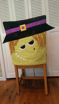 """Witch Chair Cover By Ryerson, Annette  - 21in x 26in, Project Time: 2-6 Hour, Fabric Type: Yardage Friendly, Project Type: Home.  Great to use for a fall and autumn or Halloween project.  CLP patterns are printed on 8-1/2"""" x 11"""", anti-copy card stock. Because they are customized with your shop's Bill-to account name, phone number and web site, they are not returnable."""