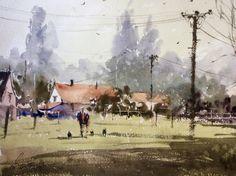 Ian Michael McManus - Watercolour Artist Yellow Cottage, Wood Bridge, Watercolour, Boat, Gallery, Artist, Painting, Pen And Wash, Watercolor Painting