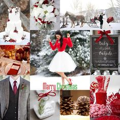 Christmas Winter wedding theme Red White wedding theme Vinter jule bryllup tema, rød, hvid, grå