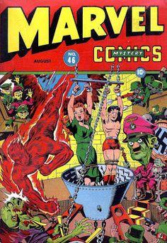 Marvel Mystery Comics #46 (Aug '43) cover by Alex Schomburg. #comics #HumanTorch #Toro