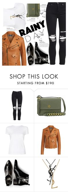 """""""Puddle Jumper: Rainy Days"""" by blackadonia ❤ liked on Polyvore featuring AMIRI, Tory Burch, Helmut Lang, Polo Ralph Lauren, Dolce Vita, Yves Saint Laurent and rainydayoutfit"""