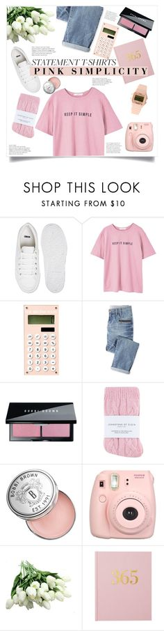 """""""Statement t-shirt: Pink Semplicity"""" by alexispengu ❤ liked on Polyvore featuring ASOS, MANGO, Wrap, Bobbi Brown Cosmetics, Johnstons, Fujifilm and Timex 80"""