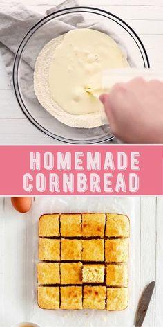 Moist Cornbread, Homemade Cornbread, Sweet Cornbread, Cornbread Recipes, Quick Bread Recipes, Baking Recipes, Thanksgiving Recipes, Holiday Recipes, Baking Pan