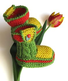 a great store to visit !    Baby booties Spring Tulips hand knitted / 03M by MiaPiccina, $22.00