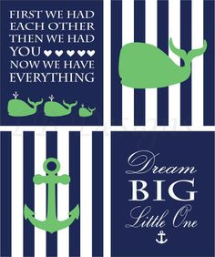 Set of 4 Green White and Navy Blue Anchor and Whale by LJBrodock, $35.00 Nautical Nursery Decor, Boy's Nautical Bedroom, Whale Nursery Decor, Nautical Stripe, Nursery Art, Anchors