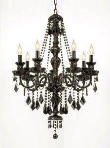 "JET BLACK CRYSTAL CHANDELIER LIGHTING (H37"" x W26"") - Gothic Decor"