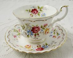 Royal Albert Jubilee Rose Tea Cup and Saucer, Bone China, Vintage Tea Cup
