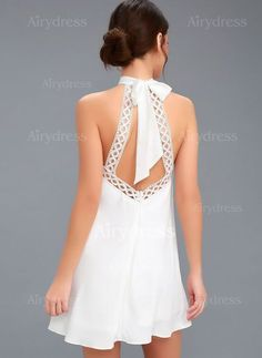 No matter where you wear it, the Any Sway, Shape, or Form White Lace Halter Dress will turn heads! Tying halter neckline tops a sleeveless lace bodice. Cute White Dress, White Lace, Next Dresses, Day Dresses, Wedding Dresses, Stylish Dresses, Casual Dresses, Halter Dress Casual, White Halter Dress