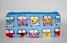 Handmade VW Van, Multi Coloured Campervan Fabric, Hippy, Blue, Rainbow, Flower Power Pencil Case Zip Pouch, Gifts for her, Gifts for him by HelenFaerieArt on Etsy