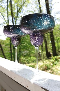 Hand painted galaxy margarita glasses set of by ArianaVictoriaRose, $44.00