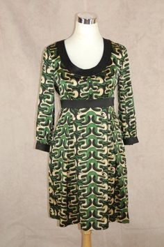 Diane Von Furstenberg Steffi Dress 4 Green Gaudi Wave Print Long Sleeve #DVF