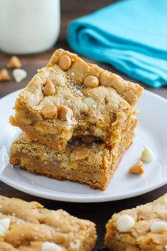 Thick and Chewy White Chocolate Peanut Butter Blondies | 13 Perfect Desserts For…