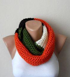orange black cream green knit infinity multicolor circle scarf