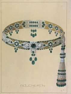 A diagram of an emerald belt for the Maharaja of Patiala by Boucheron