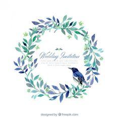 自然の風の手描きの結婚式の招待状 無料ベクター