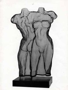 Steelmesh Couples or Group sculpture by artist David Begbie titled: 'Back to Front (Dancing Nude Couple Statuese in mesh)' #sculpture #art