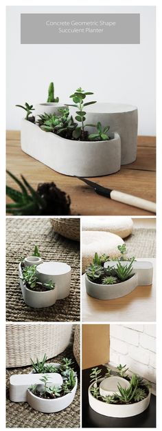 Order the Concrete Geometric Shape Succulent Planter as a Friends' Day gift for your plant-loving pal. Apollo Box has home decor and unique gifts for everyone on your list. Cement Art, Concrete Crafts, Concrete Planters, Cement Table, Cement Design, Concrete Forms, Succulent Planter Diy, Diy Planters, Garden Planters
