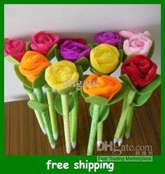 Colorful Flower Ball Pen Rose Plush Pens Wedding Necessity Creative Gift For Kids Online with $15.65/Piece on Dhgatc's Store | DHgate.com