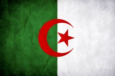 Algeria's flag is comprised of green, symbolizing the beauty of nature, white, symbolizing peace, and red in remeberance of the blood shed by those who fought for Algeria's independence in the Algerian war (1954 to 1962).  The star and crescent represent Islam, the religion of 99% of Algerian citizens.