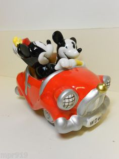 Disney Mickey Mouse and Minnie Mouse Car Salt and Pepper Shakers - Never Used